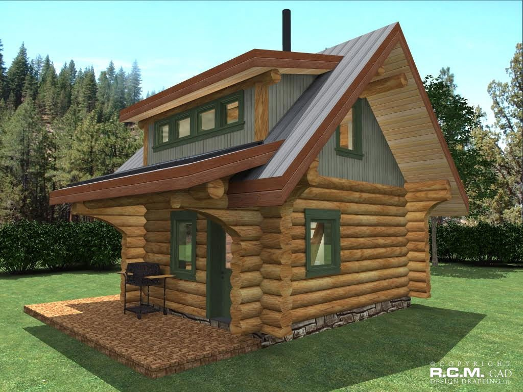 500 square feet and less r c m cad design drafting ltd for Square log cabins