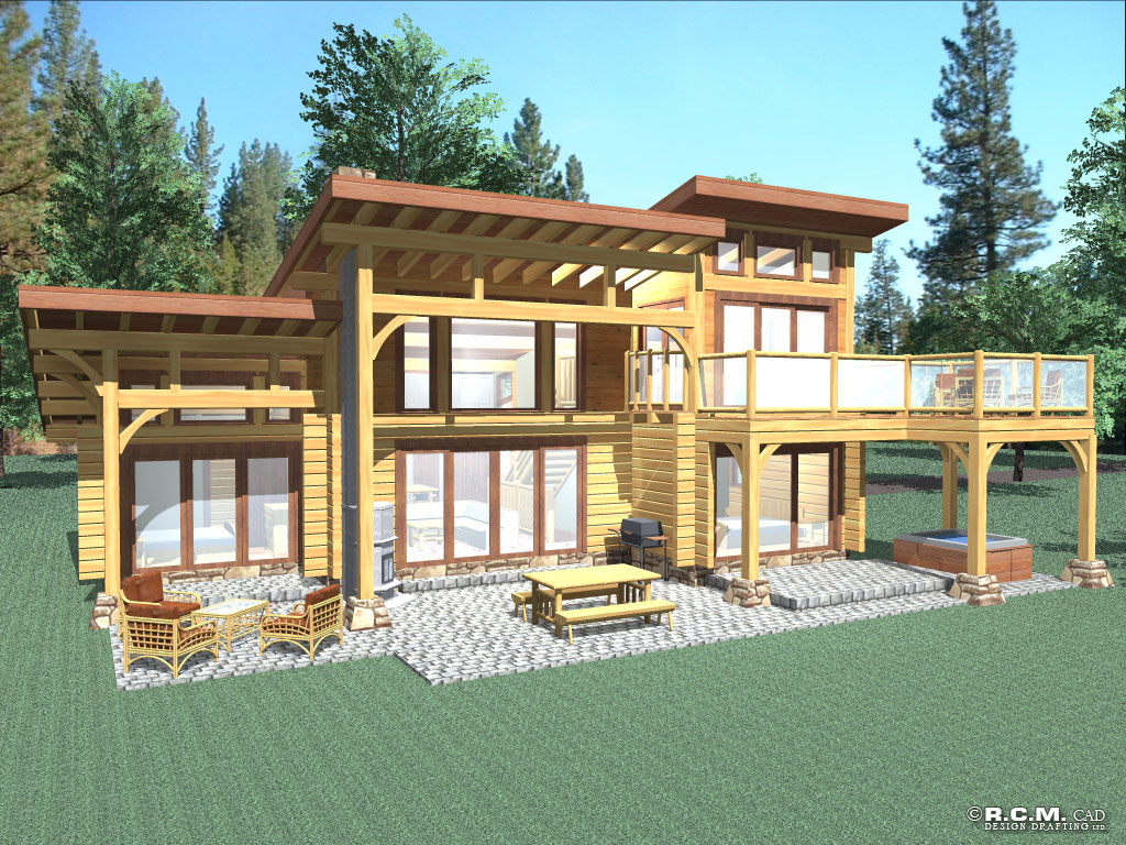 Amusing 80 home cad design inspiration of 4 bed room for Contemporary log home designs