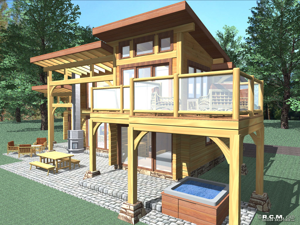 contemporary log home styles - rcm cad design drafting ltd.