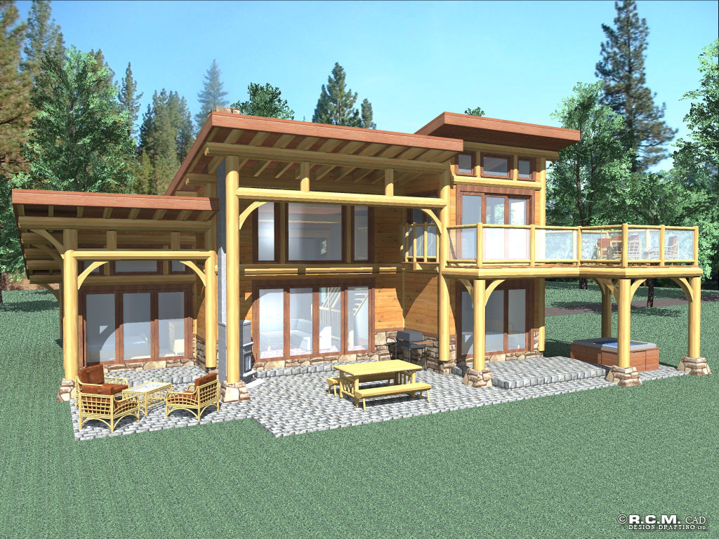 Contemporary Log Home Styles RCM Cad Design Drafting Ltd
