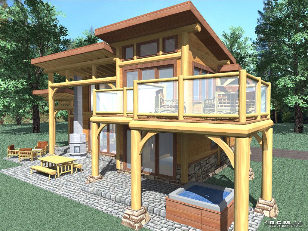 Contemporary Log Home Styles Rcm Cad Design Drafting Ltd