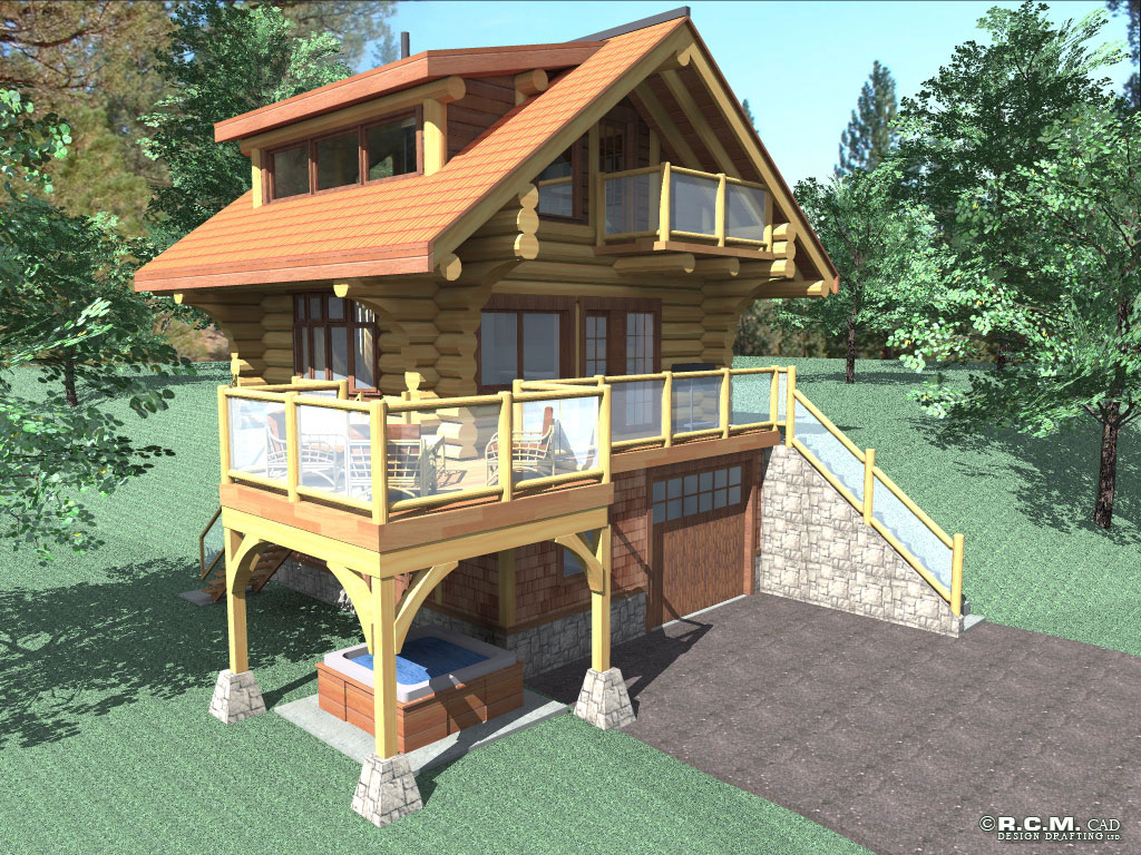 Bachelor log home styles rcm cad design drafting ltd for Small house 500 square feet