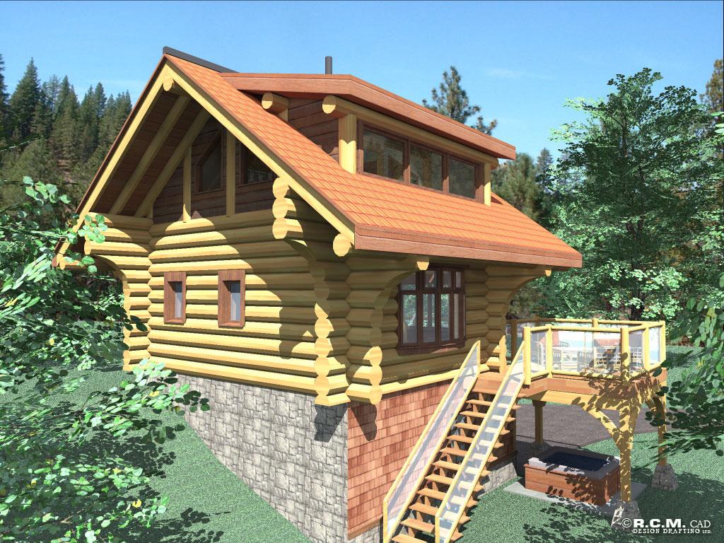 bachelor log home styles - rcm cad design drafting ltd.