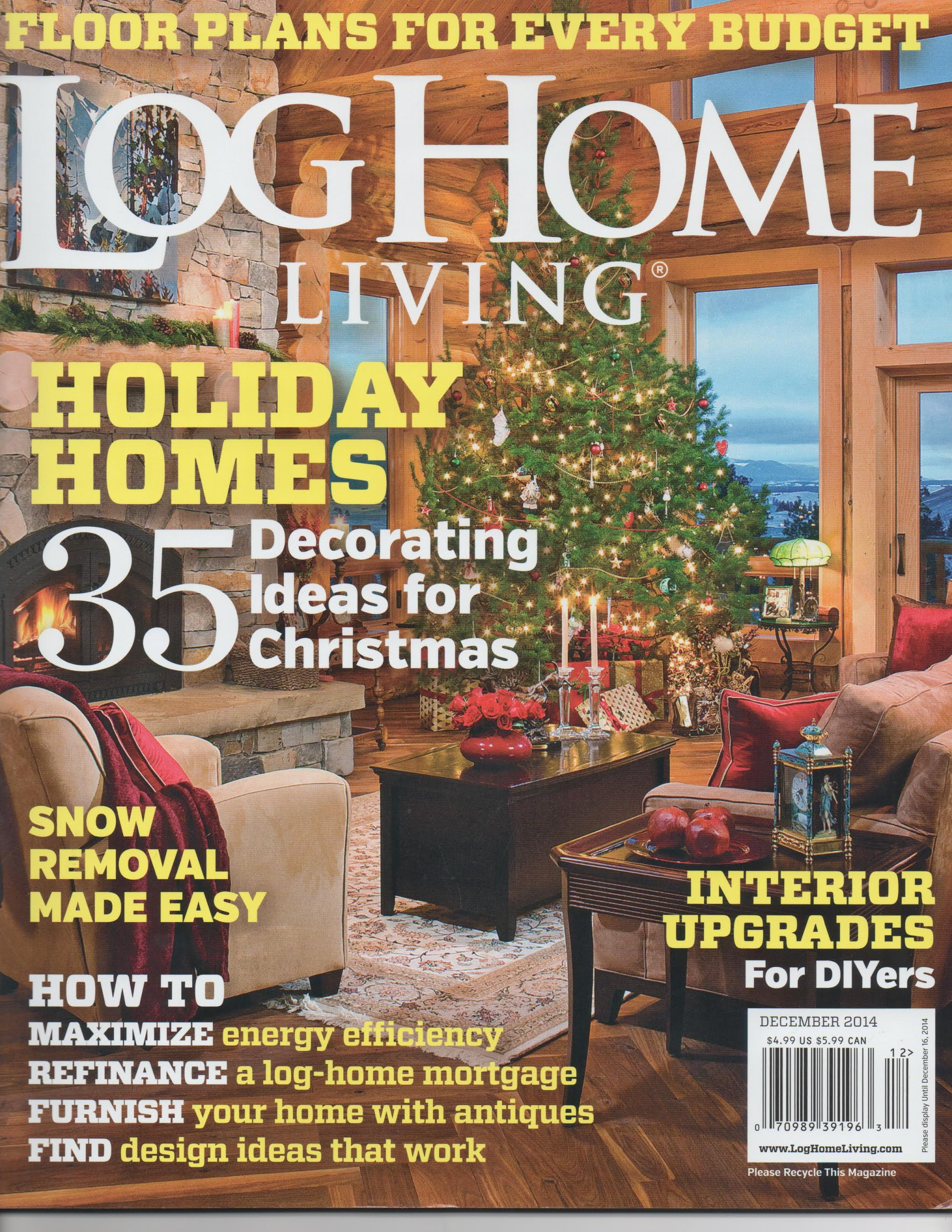log home living magazine - december 2014 - rcm cad design drafting ltd.