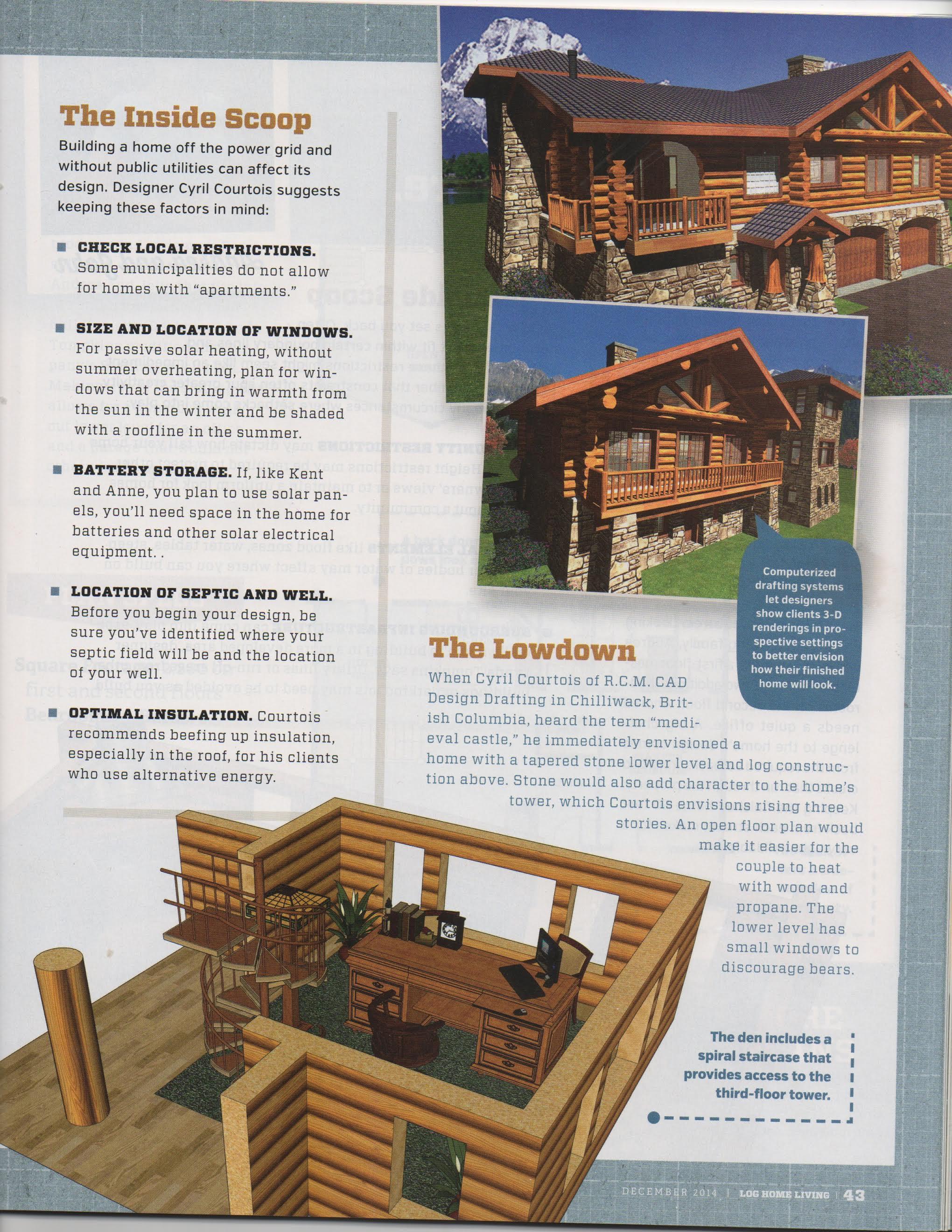 Log Home Living Magazine - December 2014 Archives - RCM Cad Design ...