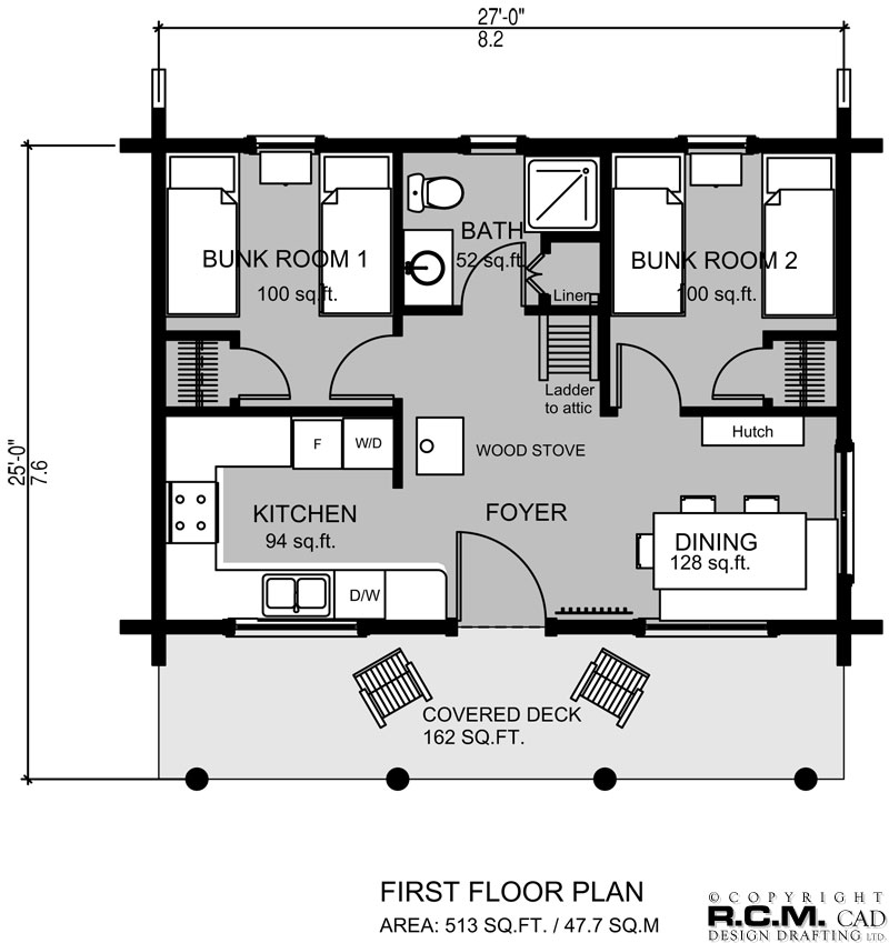 513 sq. ft - Bunk House Milled