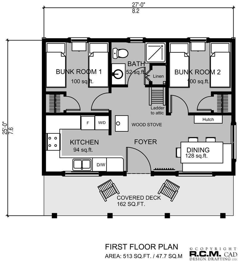 513 sq. ft - Bunk House Timber Accent